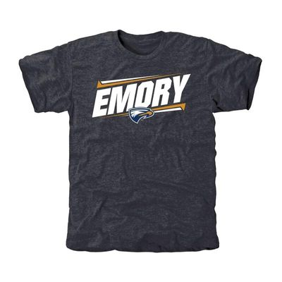 Emory Eagles Double Bar Tri-Blend T-Shirt - Navy