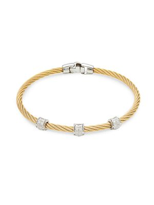 Alor Two-Tone Stainless Steel, 18K White Gold & Diamond Bracelet