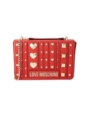 Love Moschino Embellished Faux Leather Satchel Bag