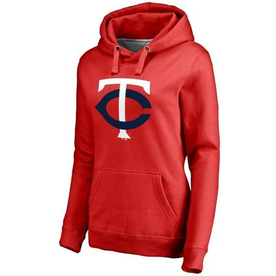 Minnesota Twins Women's Secondary Color Primary Logo Pullover Hoodie - Red