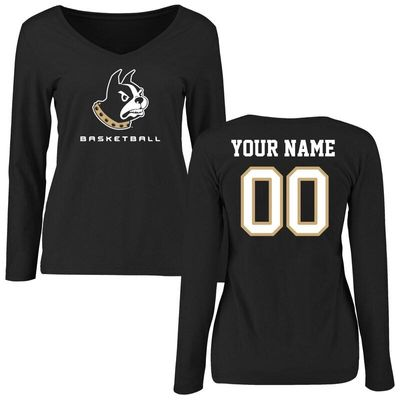 Wofford Terriers Women's Personalized Basketball Long Sleeve T-Shirt - Black