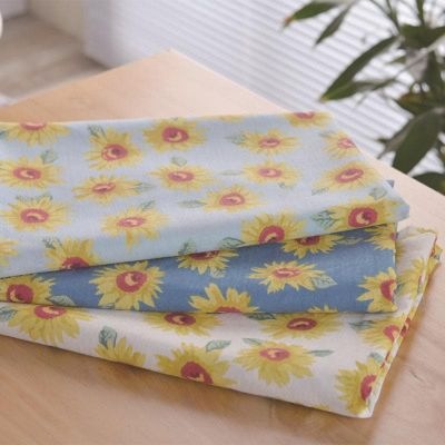 1 Meter Rural Wind Soft Cotton Fabric Sunflower Printing Clothing Accessories Bag Tablecloth Handmade DIY Cloth