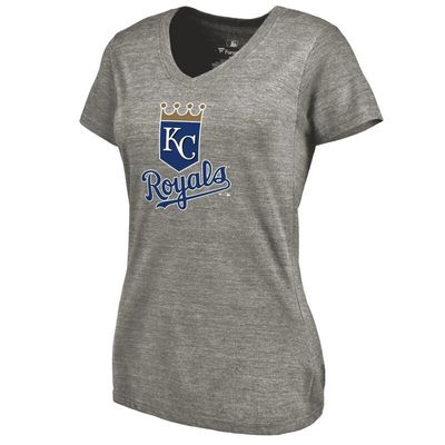 Kansas City Royals Women's Primary Logo Tri-Blend V-Neck T-Shirt - Ash