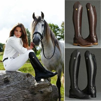 Cool Women Rider Horse Riding Boots Smooth Leather Knee High Boots Autumn Winter Warm High Boots Mountain Riding Boots DA270