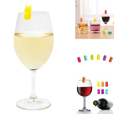 6Pcs Silicone Wine Glass Markers Pineapple Wine Glass Tags Drink Markers Fruit Wine Favors Assorted Designs For Glass Cup
