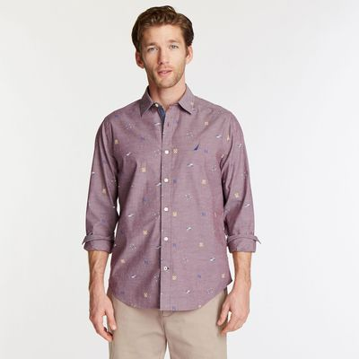 Nautica Big & Tall Short Sleeve Oxford Shirt In Nautical Icon Print