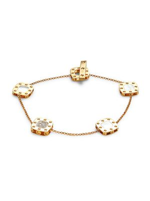 Roberto Coin 18K Yellow Gold, Diamond, Mother-Of-Pearl & Ruby Bracelet