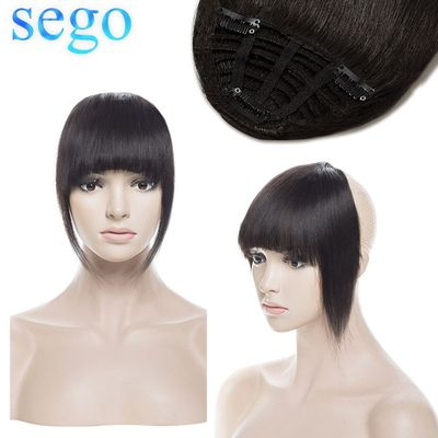 SEGO 25g Neat Front Fringe Clip In Human Hair Bangs Remy Hair Extensions Sweeping Side Blunt Bang Natural Hairpieces 8 colors