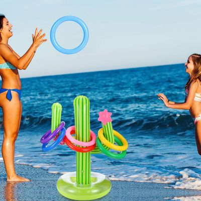 5PCS Inflatable Cactus Ring Toss Game Set Floating Swimming Ring Summer Outdoor Children's Intelligence Interactive Game