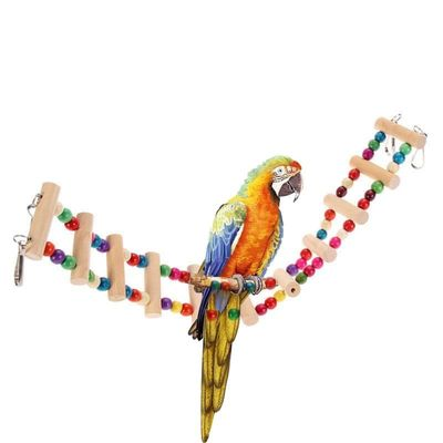 4 sizes Colorful Pet Parrot Bird Wood Ladder Climb Cableway Hamster Toys Rope Parrot Bites Harness Cage Parakeet Home Supplies