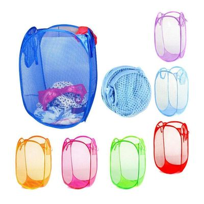 Hamper Laundry Basket Toy Clothes Storage Bin Mesh Washing Storage Nylon