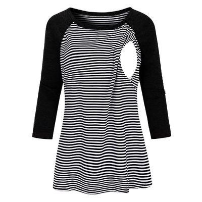 Women Maternity Blouse 3/4 Sleeve Striped Nursing Tops T-shirt For Breastfeeding Ladies Fashion Casual Pregnancy Clothes C850#