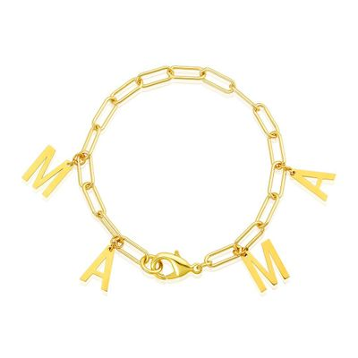 Adornia Mama  Paper Clip Chain Bracelet Gold Plated Brass