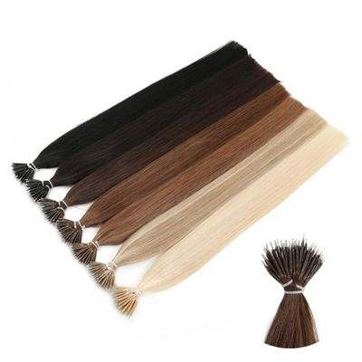MRSHAIR Nano Rings Micro Ring 100% Human Hair Extensions Non-remy Hair Brown Blonde Pure Color 50/200pc 12 16 20 24 Inch