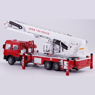 1:50 Alloy Engineering Vehicles,High Simulation Fire Truck,Fire Ladder,Climbing Car,Children's Educational Toys