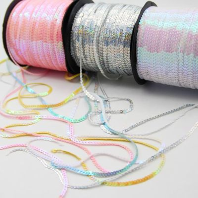 10Yard 4mm Loose Round Flat Laser Glitter Paillettes Sequins Crafts String Rolls Sewing On Garment Cloth Accessories Sequin Trim