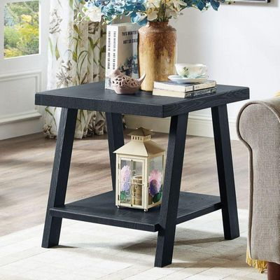 Roundhill Athens Contemporary Replicated Wood Shelf End Table in Black Finish