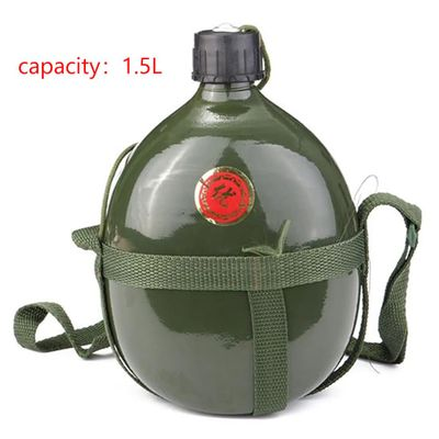 1.5L Army Outdoor Military Bicycle Water Bottle Tactical Cup Portable Aluminum Sport Canteen Cycling  Hiking Camping Travel