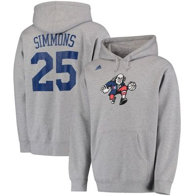 Ben Simmons Philadelphia 76ers adidas Name and Number Pullover Hoodie - Heathered Gray
