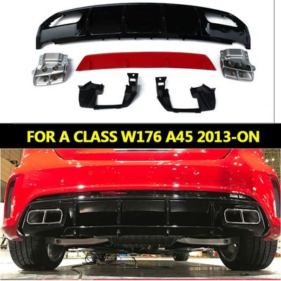 REAR BUMPER  Fit for benz W176 Sport Edition A180 A200 2013-2019  A45  style Diffuser + 304 Stainless Steel Exhaust Tip