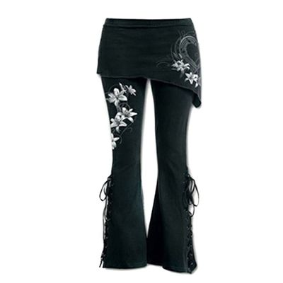 Women Black Embroidered Casual Bandage Flares Punk Lace Up Bell Bottom Leggings #190223
