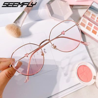 Seemfly Pink Blush Gradient Glasses Fashion Round Decorative Sunglasses Women New Korean Cute Girlish Style Shades Eyewear