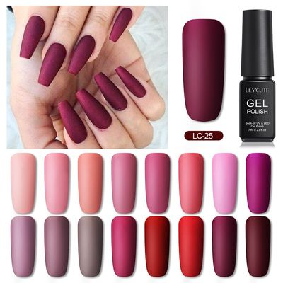 LILYCUTE Red Nude Pink Color Series UV Gel Polish Matte Top Coat Gel Nail Polish Semi Permanent Soak Off Nail Art Gel varnish