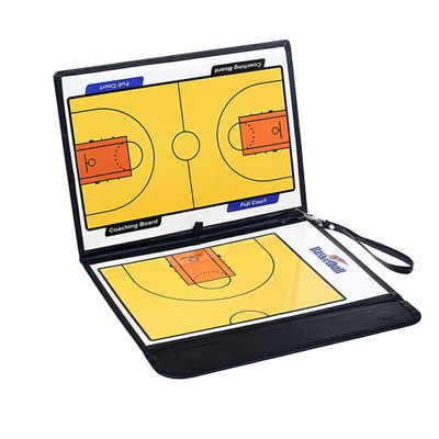 Portable Leather Magnetic Foldable Basketball Tactical Board Training Coaching Kit 24 Magnets for Tactic Drawing Noting
