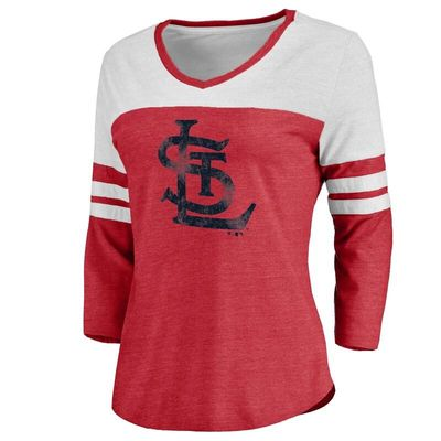 St. Louis Cardinals Women's Cooperstown Two Tone Three-Quarter Sleeve Tri-Blend T-Shirt - Red/White
