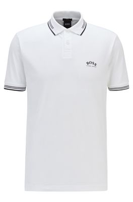 HUGO BOSS - Slim Fit Polo Shirt In Stretch Pique With Curved Logo