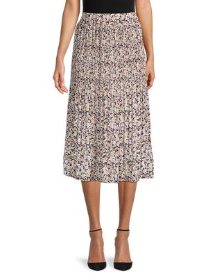 Chenault Floral-Print Pleated Skirt