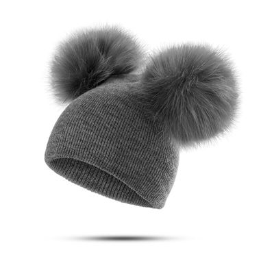 YEABIU Cute  Poms Winter Warm Baby Hats Knitted Cotton Girls Boys Hat Cap Winter Hat for Kids Solid  Thick Child Cap Wholesale