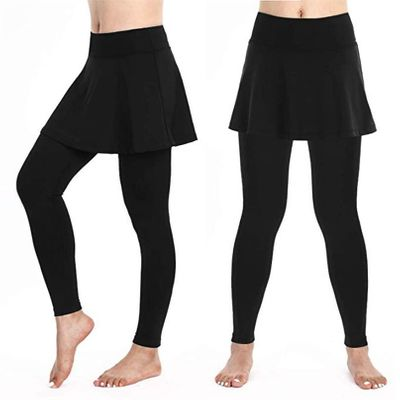 Women's Casual Skirt Leggings Tennis Pants Fitness Cropped Culottes Sports Skirt Pants #4o31
