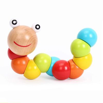 1set baby Wooden Toys Color Twisted Worm Educational Toys Baby Gifts High Quality Lotus Montessori toy Children's goods Finger