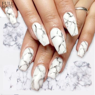 1PCS Nail Art Sticker White Black Gradient Marble Winter DIY Water Transfer sliders for Manicure Decorations Tool CHBN613-624