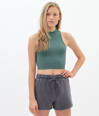 Aeropostale Seamless Ribbed Mock-Neck Crop Top