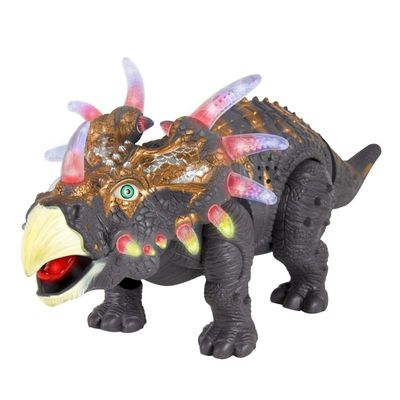 Best Choice Products 14in Kids Interactive Walking Moving Triceratops Dinosaur Animal Toy Figure w/ Lights, Sound