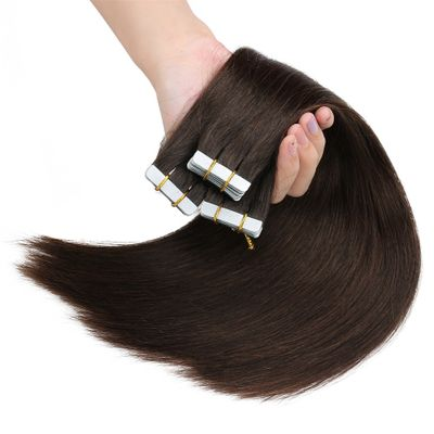 ALI BEAUTY Tape In Human Hair Extensions Brazilian Remy Straight On Adhesive Invisible PU Weft Platinum Blonde Color