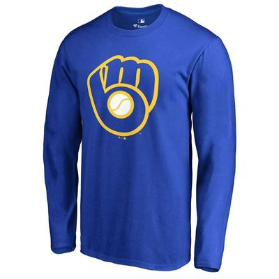 Milwaukee Brewers Secondary Color Primary Logo Long Sleeve T-Shirt - Royal
