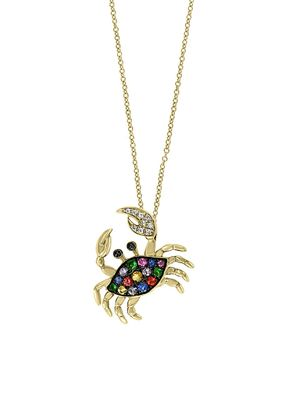 Effy Watercolors 14K Gold Multi Sapphire & Diamond Crab Pendant Necklace