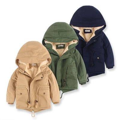 Kids coat boys winter jacket jacket long-sleeved hooded jacket youth clothes casual cotton clothing autumn thick warm jacket