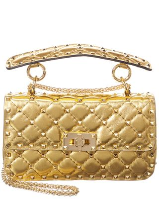 Valentino Rockstud Spike Metallic Leather Shoulder Bag