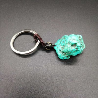 Drop shipping Pure natural turquoisependant  KeyChain ore energy stone KeyChain wholesale 1pcs free shipping