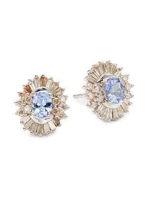 Saks Fifth Avenue 14K White Gold, Tanzanite & Diamond Earrings