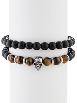 Eye Candy LA Daniel Set of 2 Agate & Tiger Eye Beaded Bracelets