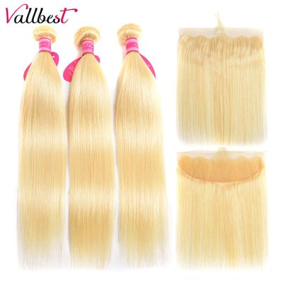 Vallbest 613 Bundles With Frontal Brazilian Straight Hair 3 Bundles With Closure Remy Blonde Human Hair Bundles With Frontal