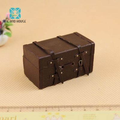 mini Luggage Leather suitcase Doll House Miniature Vintage traditional brown 1:12 scale