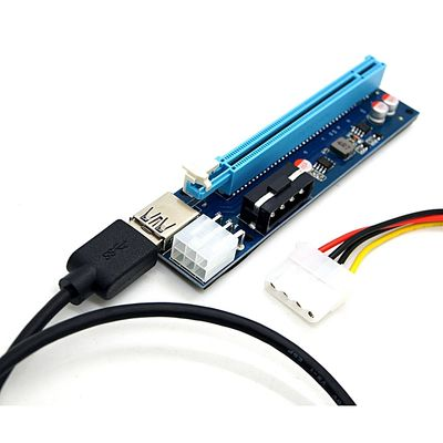 100% New USB3.0 PCI-E Express 1x To 16x Extender Riser Card Adapter SATA 6Pin Cable