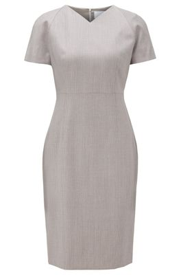 HUGO BOSS - V Neck Dress With Short Sleeves In Virgin Wool