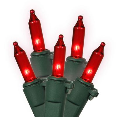 50 Red Mini Christmas Lights - 16.8 ft Green Wire